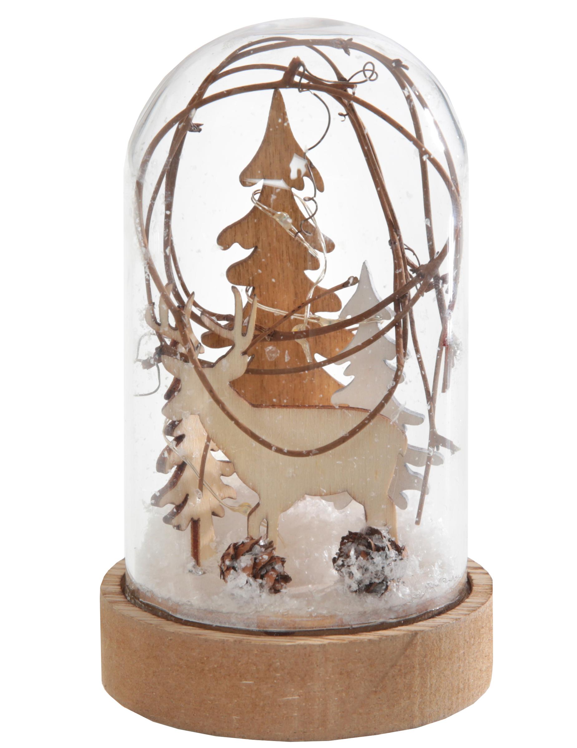 boule neige en verre cerf lumineuse 7 5 x 12 5 cm d coration anniversaire et f tes th me. Black Bedroom Furniture Sets. Home Design Ideas