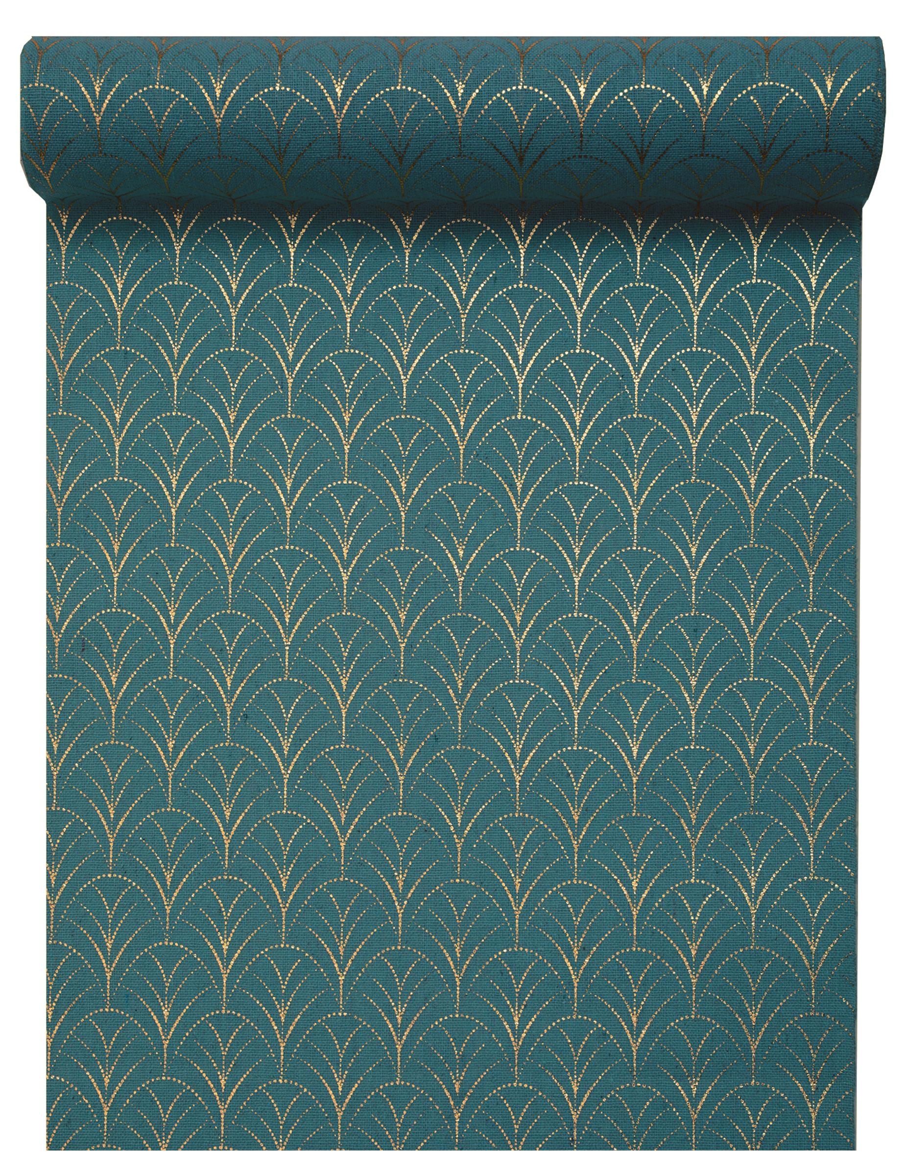Chemin De Table Coton Art Deco Bleu Canard Et Dore Metallise 3 M Decoration Anniversaire Et Fetes A Theme Sur Vegaoo Party