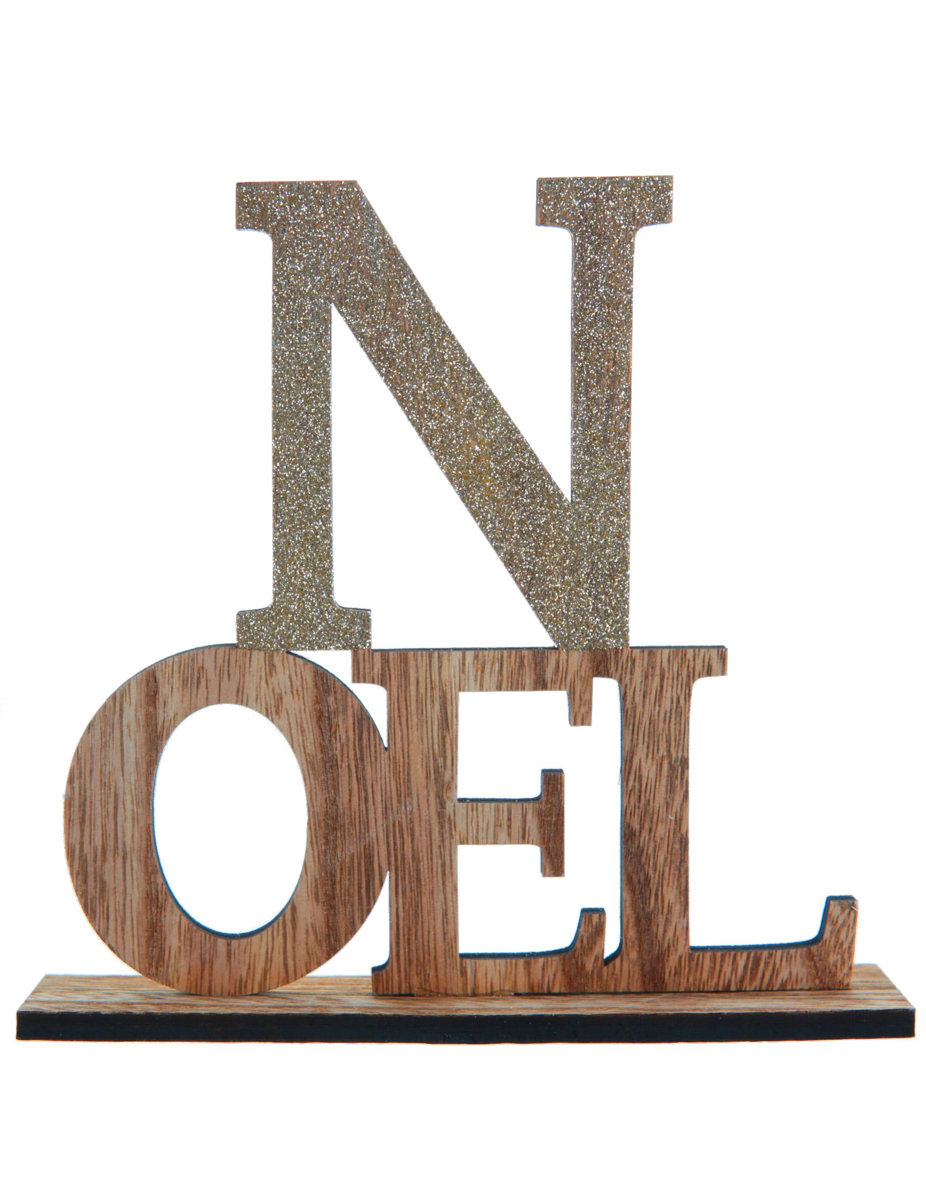 Decoration Lettre En Bois : Lettre en bois noël sur socle doré cm
