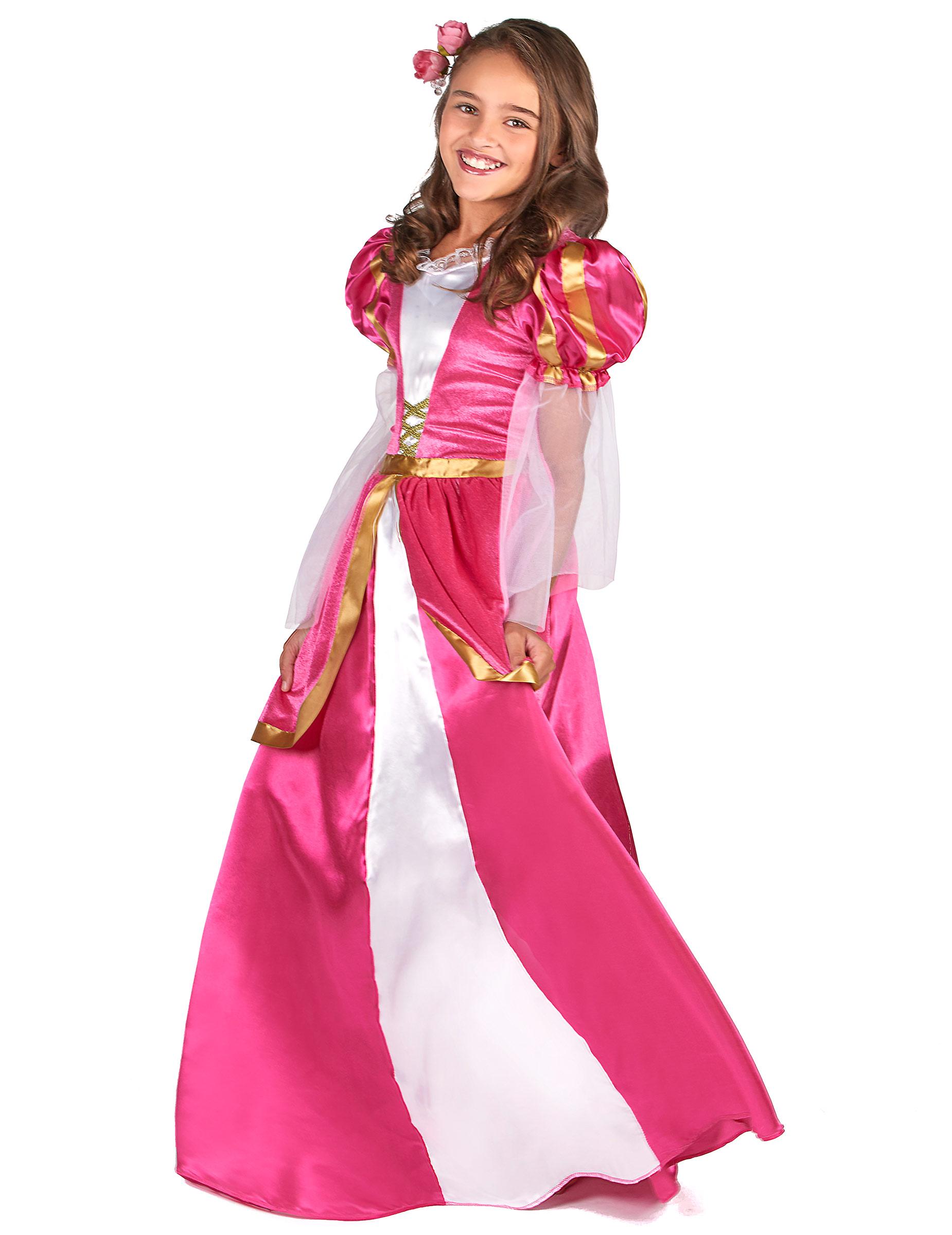 03986dededf Déguisement princesse médiévale rose fille-1