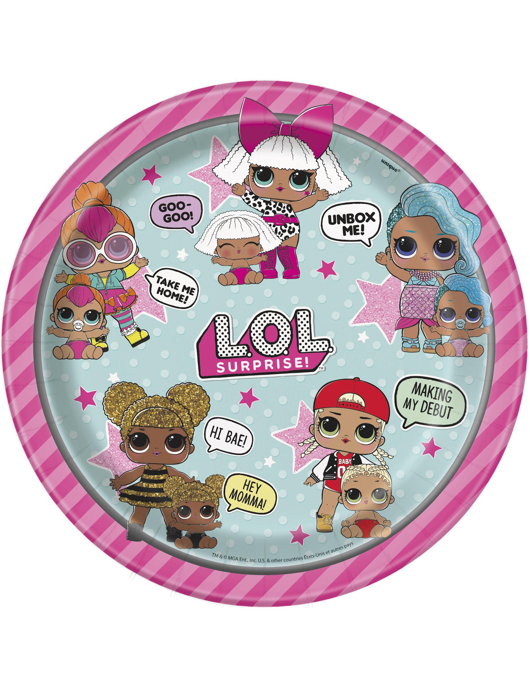 """18 cm ou 7/"""" LOL Surprise Enfants Plaques Décorations de fête"""