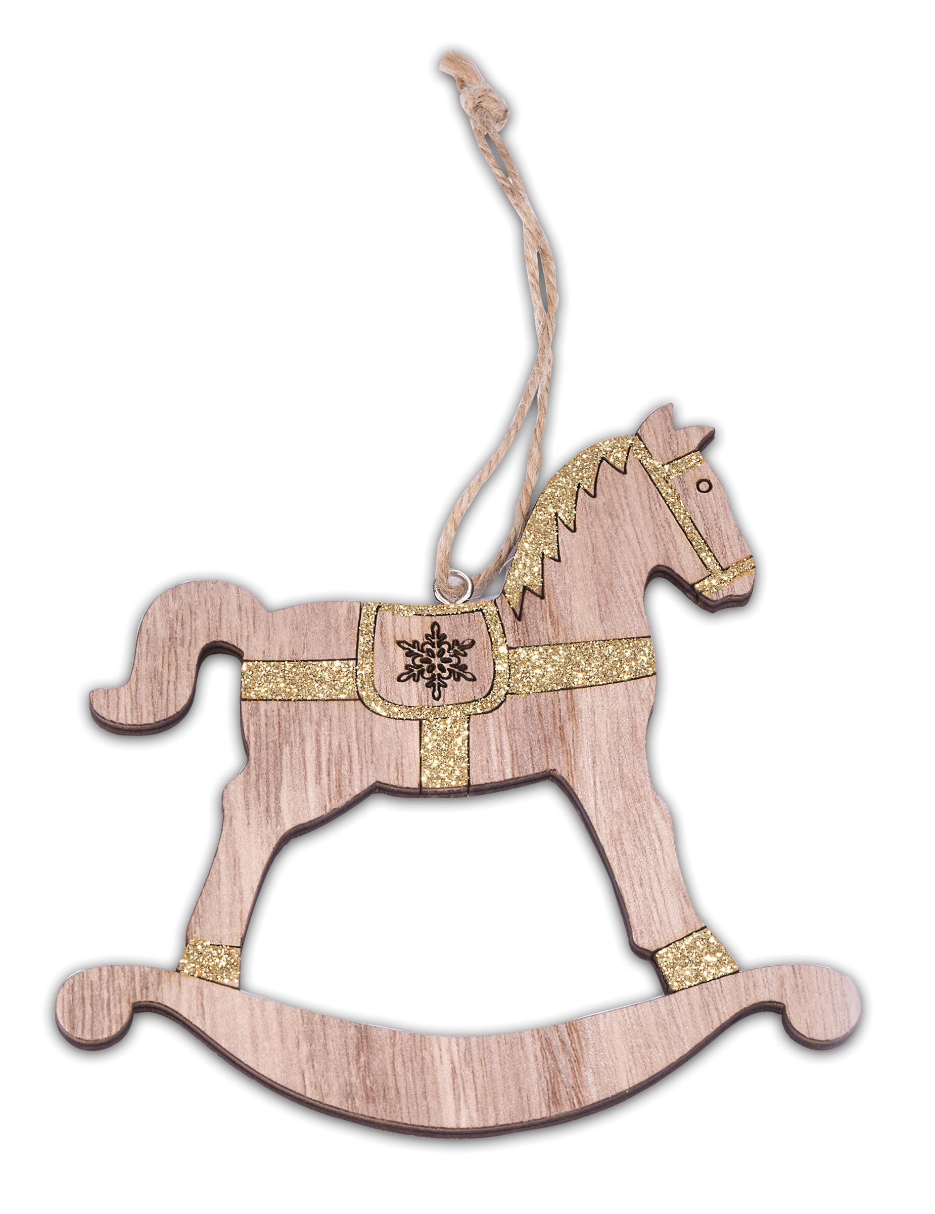 cheval bascule en bois paillet dor 12 cm d coration anniversaire et f tes th me sur. Black Bedroom Furniture Sets. Home Design Ideas