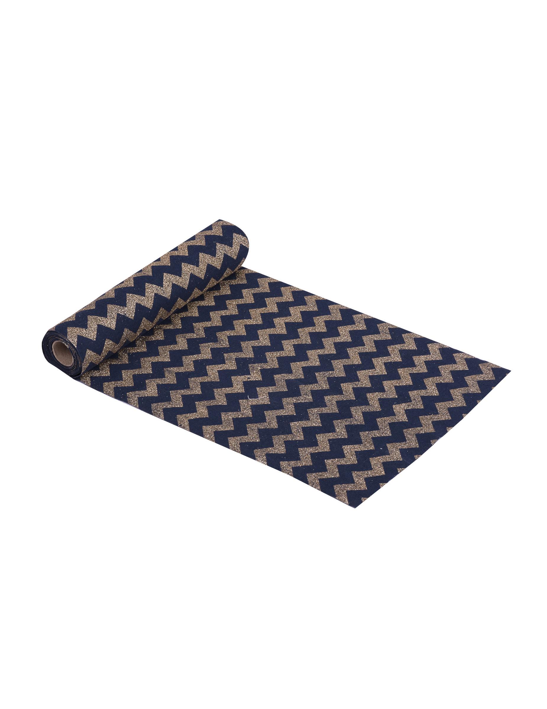 chemin de table en lin bleu et or 28 cm x 3 m d coration. Black Bedroom Furniture Sets. Home Design Ideas