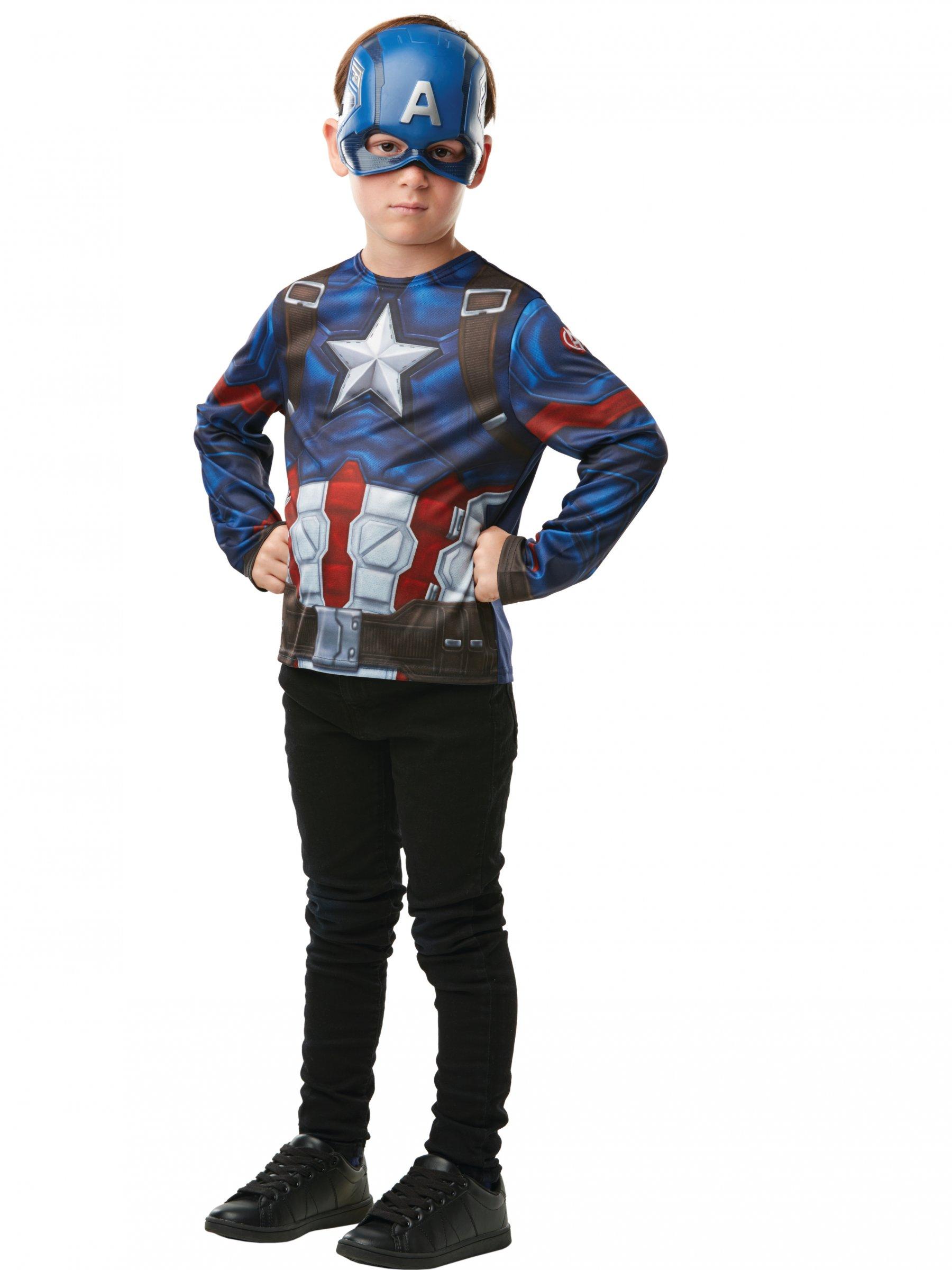 T shirt avec masque captain america enfant d coration anniversaire et f tes th me sur vegaoo - Masque de captain america ...