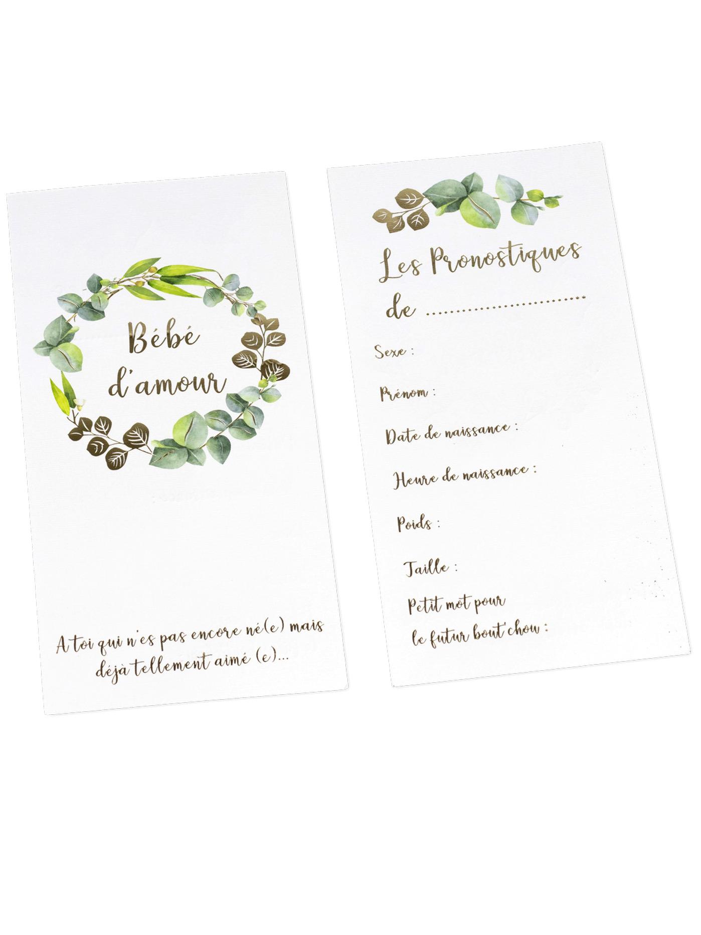 10 Cartes De Pronostiques Bébé Damour Eucalyptus Dorure Or 10 X 20 Cm Décoration Anniversaire Et Fêtes à Thème Sur Vegaoo Party
