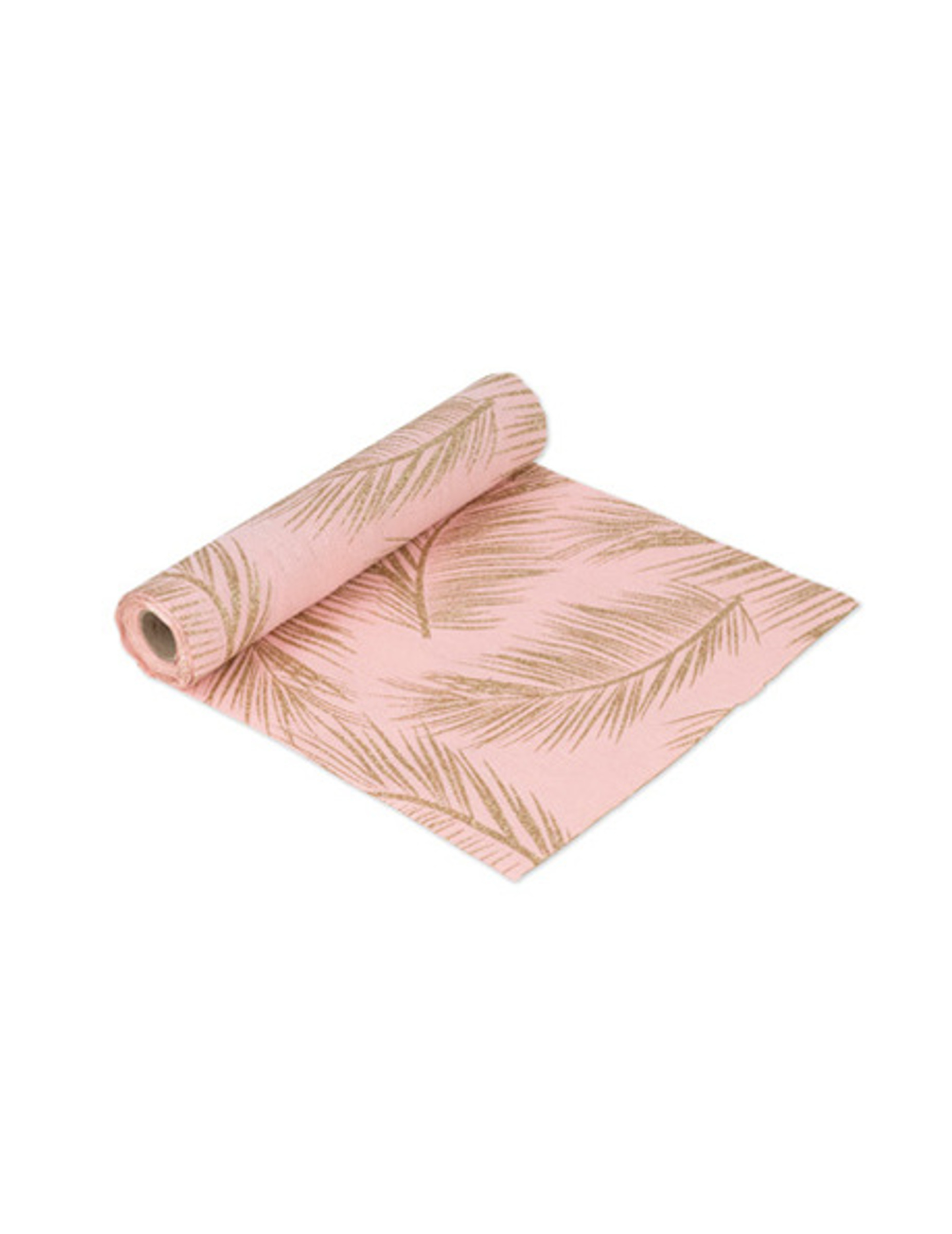 chemin de table en lin rose poudr foug re paillette dor. Black Bedroom Furniture Sets. Home Design Ideas
