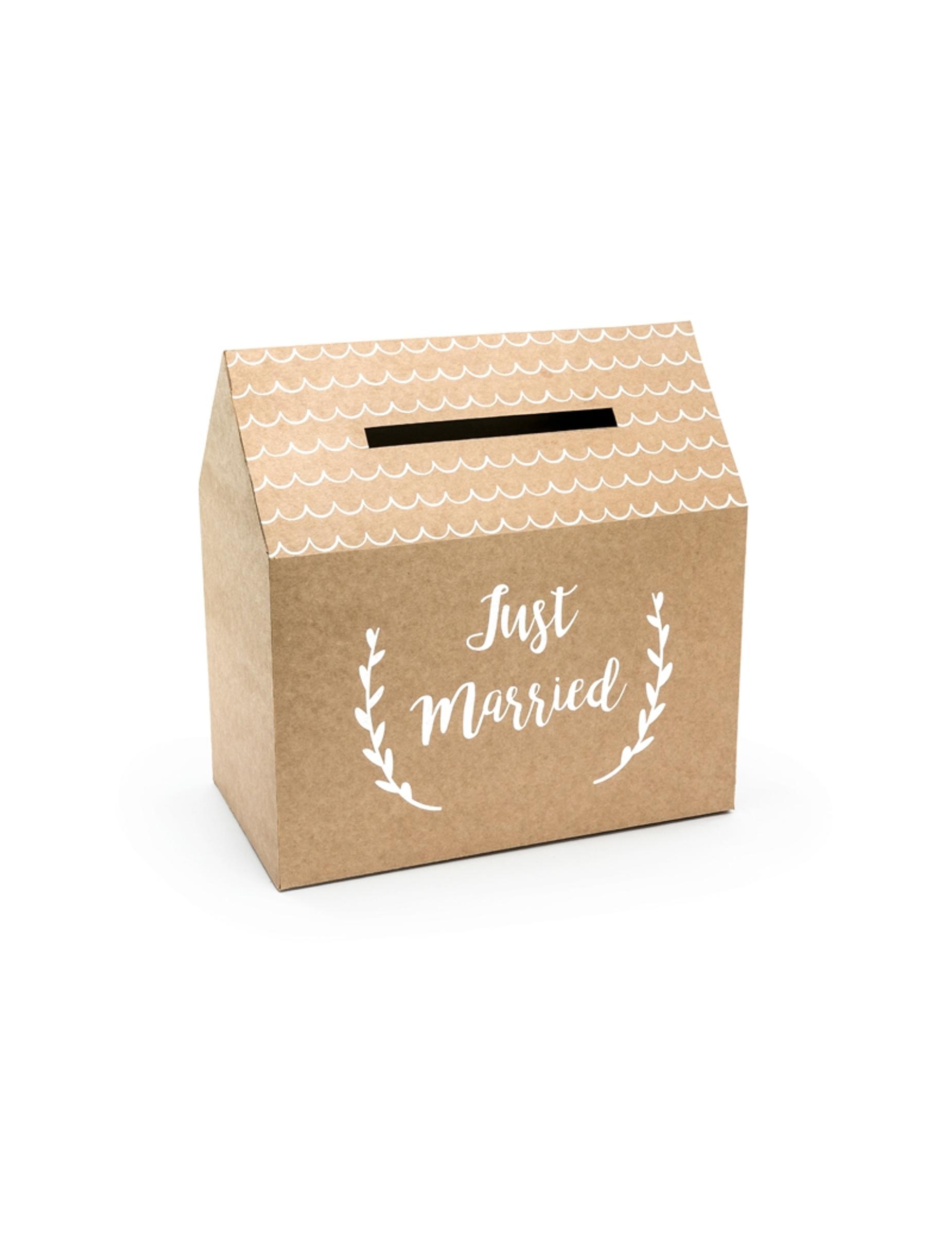 urne en carton kraft just married 30 x 30 5 x 16 5 cm d coration anniversaire et f tes th me. Black Bedroom Furniture Sets. Home Design Ideas