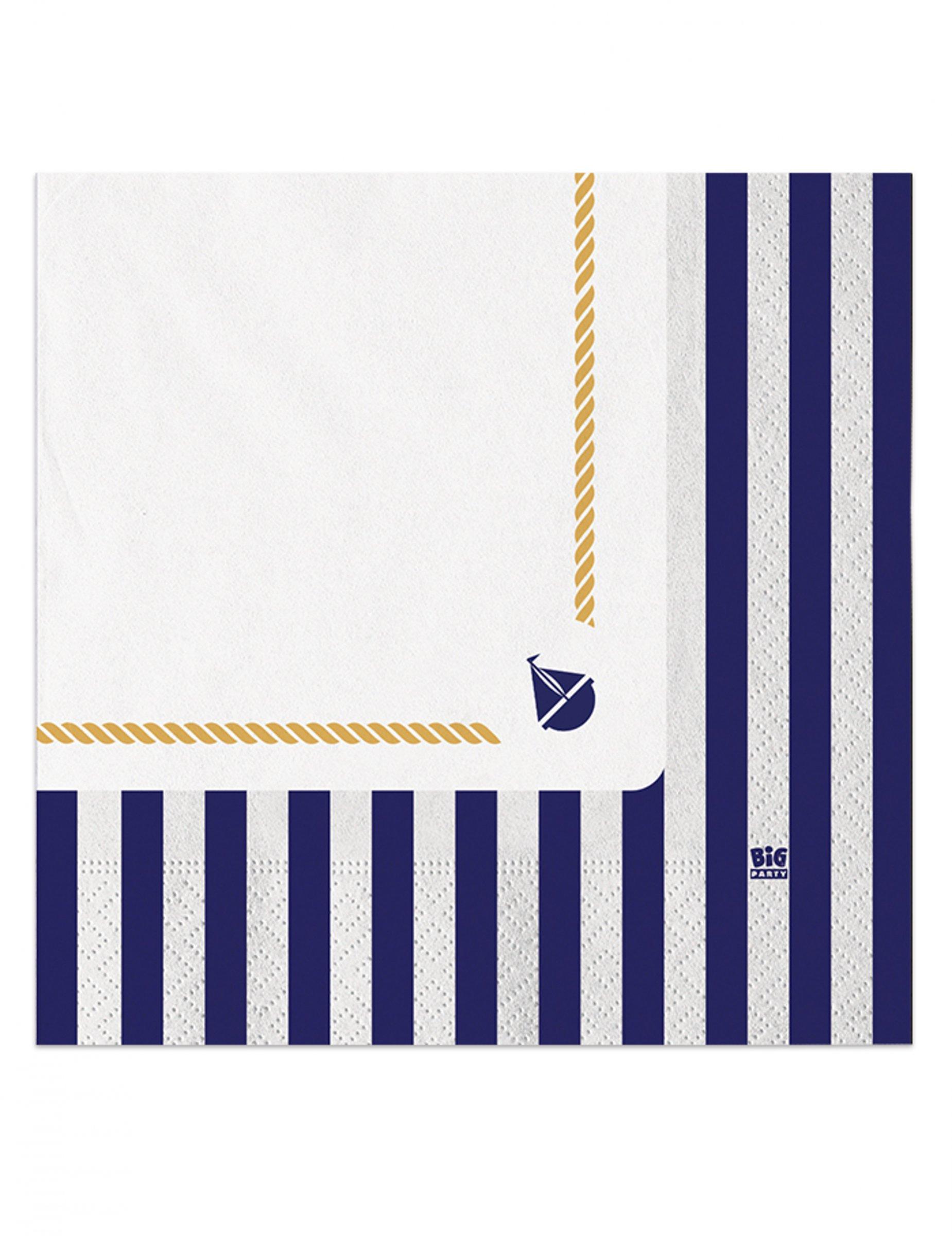 Serviettes En Papier Originales 20 serviettes en papier marinière 33 x 33 cm, décoration anniversaire et  fêtes à thème sur vegaoo party