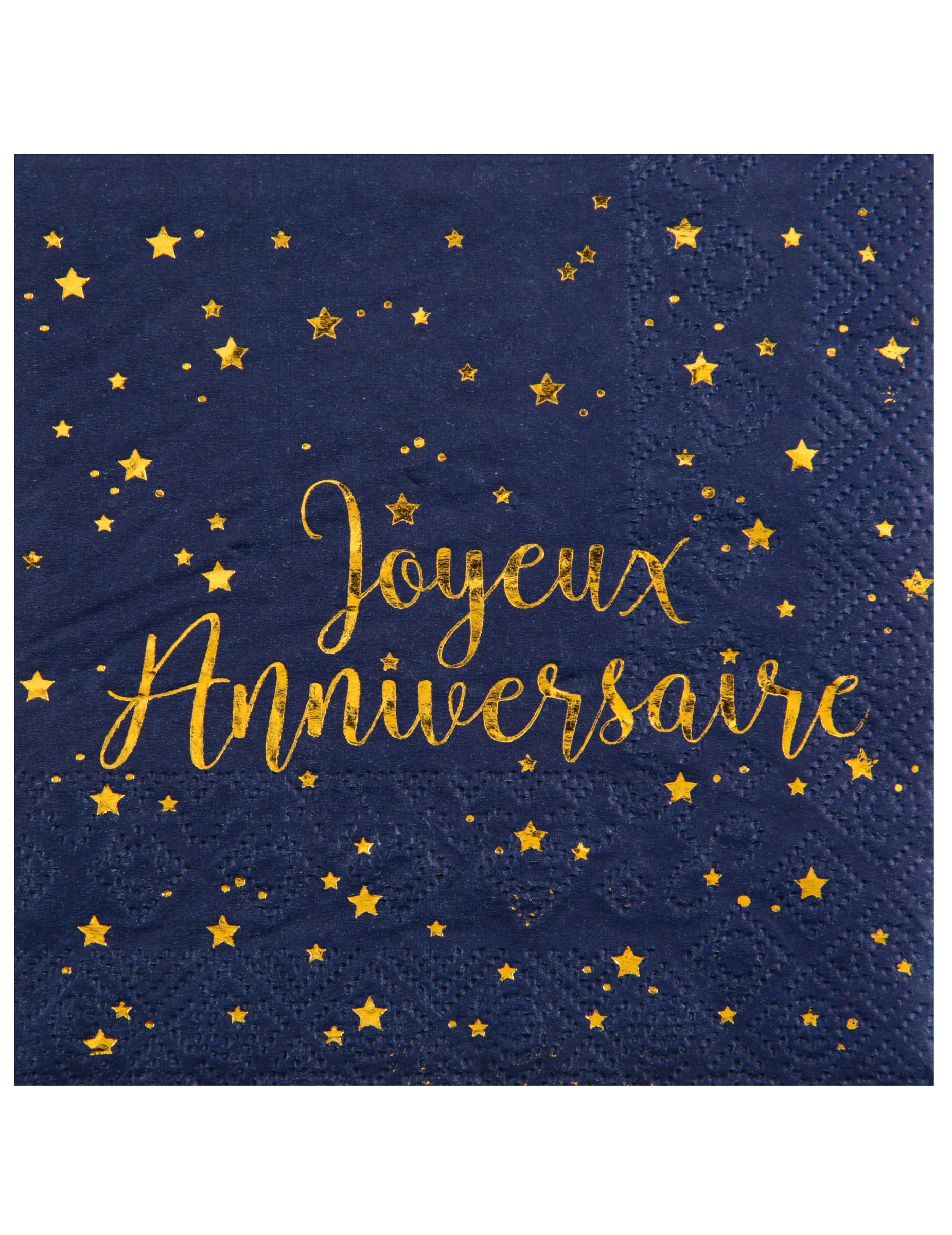 20 Serviettes Papier Joyeux Anniversaire Bleu Marine 33 X 33 Cm Decoration Anniversaire Et Fetes A Theme Sur Vegaoo Party