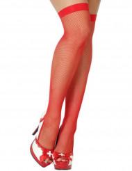 Bas résille rouge femme