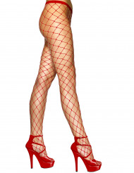 Collants mailles rouges femme