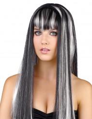 Perruque noire et blanche femme
