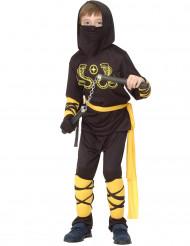 Déguisement ninja noir et jaune garçon