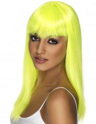 Perruque longue jaune fluo à frange femme