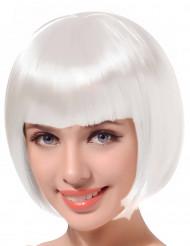 Perruque courte à frange blanche femme