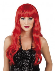 Perruque longue rouge à frange femme