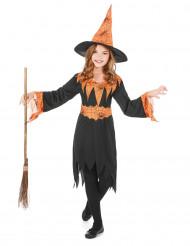 Déguisement sorcière orange et noire fille