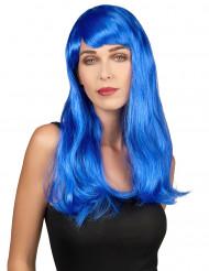 Perruque longs cheveux bleus femme