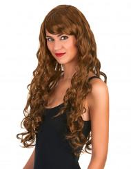 Perruque glamour longue châtain avec boucles femme