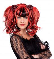 Perruque gothique rouge et noire femme