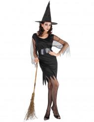 Déguisement sorcière manches en tulle femme Halloween