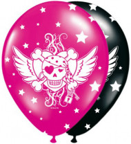 8 Ballons gonflables Pirate fille Noir et rose