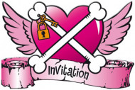 8 Cartons d'invitation Pirate fille Noir et rose