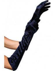 Gants longs noirs femme