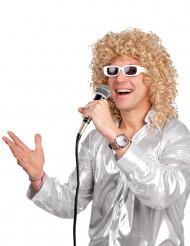 Perruque bouclée blonde avec lunettes blanche homme