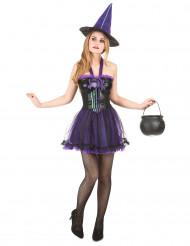 Déguisement sorcière violette femme halloween