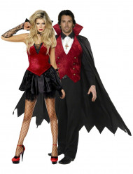 Déguisement couple vampire noir et rouge Halloween