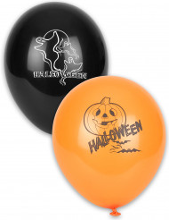 12 Ballons latex noirs et orange Halloween