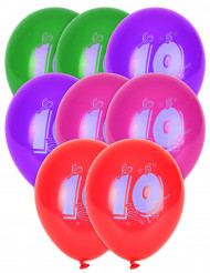 8 Ballons chiffre 10 multicolores 30 cm