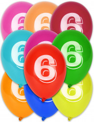 10 Ballons chiffre 6 multicolores 30 cm