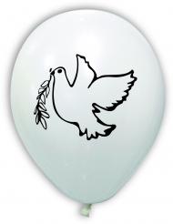 10 Ballons imprimés colombe paix blancs 30 cm