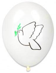 10 Ballons imprimés colombe paix