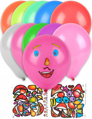 10 Ballons stickers visage multicolores 30 cm