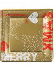 8 Grandes assiettes carrées carton Noël