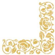20 Serviettes en papier Arabesques dorées 33 x 33 cm