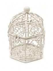 Mini cage à oiseaux en métal blanche 5,5 x 4,5 cm