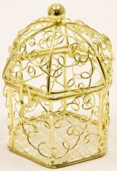 Mini cage à oiseaux en métal doré 5,5 x 4,5 cm
