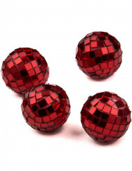 4 Mini boules à facettes rouges 3,5 cm