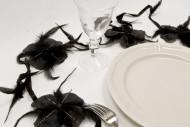 Guirlande de fleurs plume noir