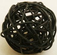6 Boules en osier noires 3,5 cm