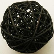 2 Boules en osier noires 6 cm