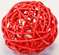 2 Boules en osier rouges 6 cm