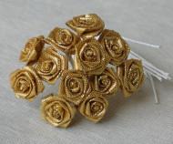 Sachet de 12 petites roses lurex or