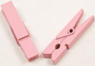 25 Pinces à linge en bois roses 3,5 cm