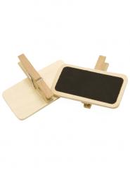 12 Mini ardoises sur pince en bois naturel 4 x 2 cm