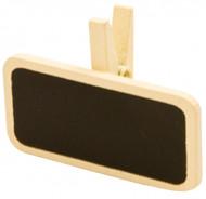 6 Pinces à linge avec une mini ardoise ivoire 4 x 2 cm